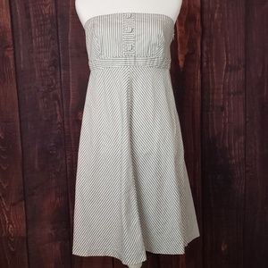 Gap Grey and White Striped Strapless Dress